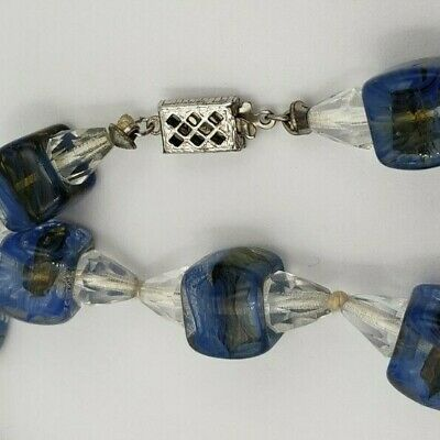 Vintage Long Necklace with Blue / Green and Clear Crystal Glass Beads  (#485)