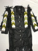 Mens New Native American Black Buckskin Buffalo Bead POW WOW Long War Co... - $499.00
