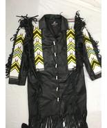 Mens New Native American Black Buckskin Buffalo Bead POW WOW Long War Co... - $499.00