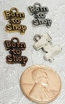 BORN TO SHOP FINE PEWTER PENDANT CHARM - 10x15x2mm image 2