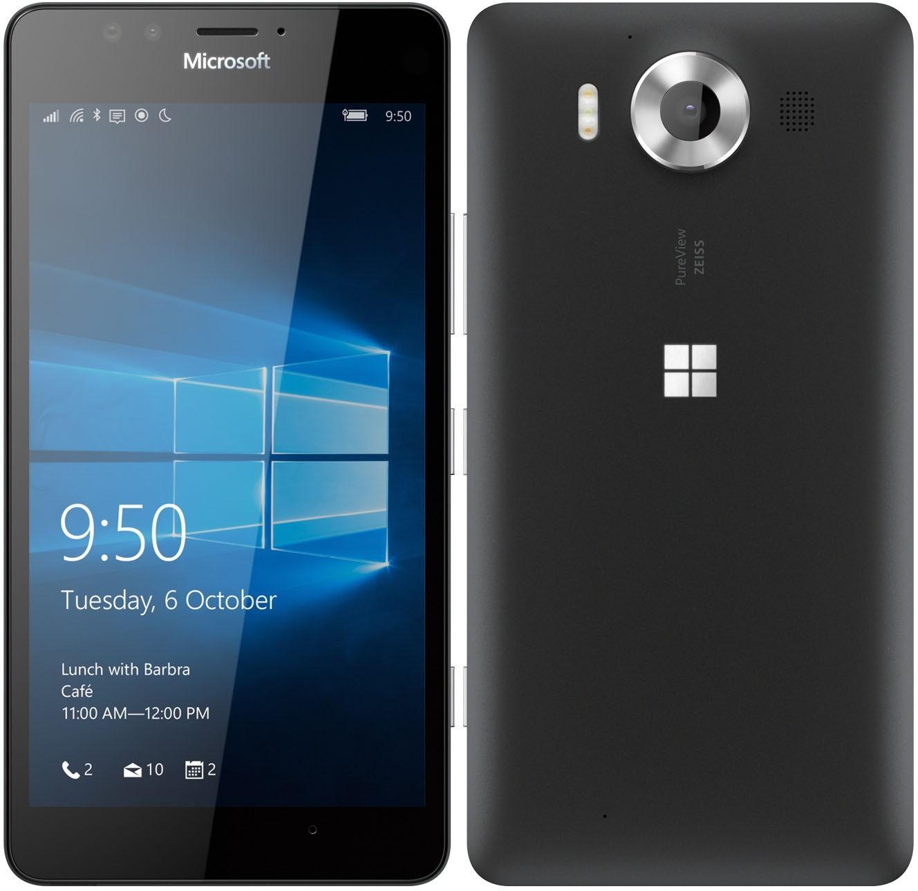 "Microsoft lumia 950 3gb 32gb black 5.2"" hd screen windows 10 4g lte smartphone"