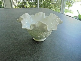 Fenton Milk Glass Ruffled Crimped Olde Virginia Glass Bowl Signed - $11.88