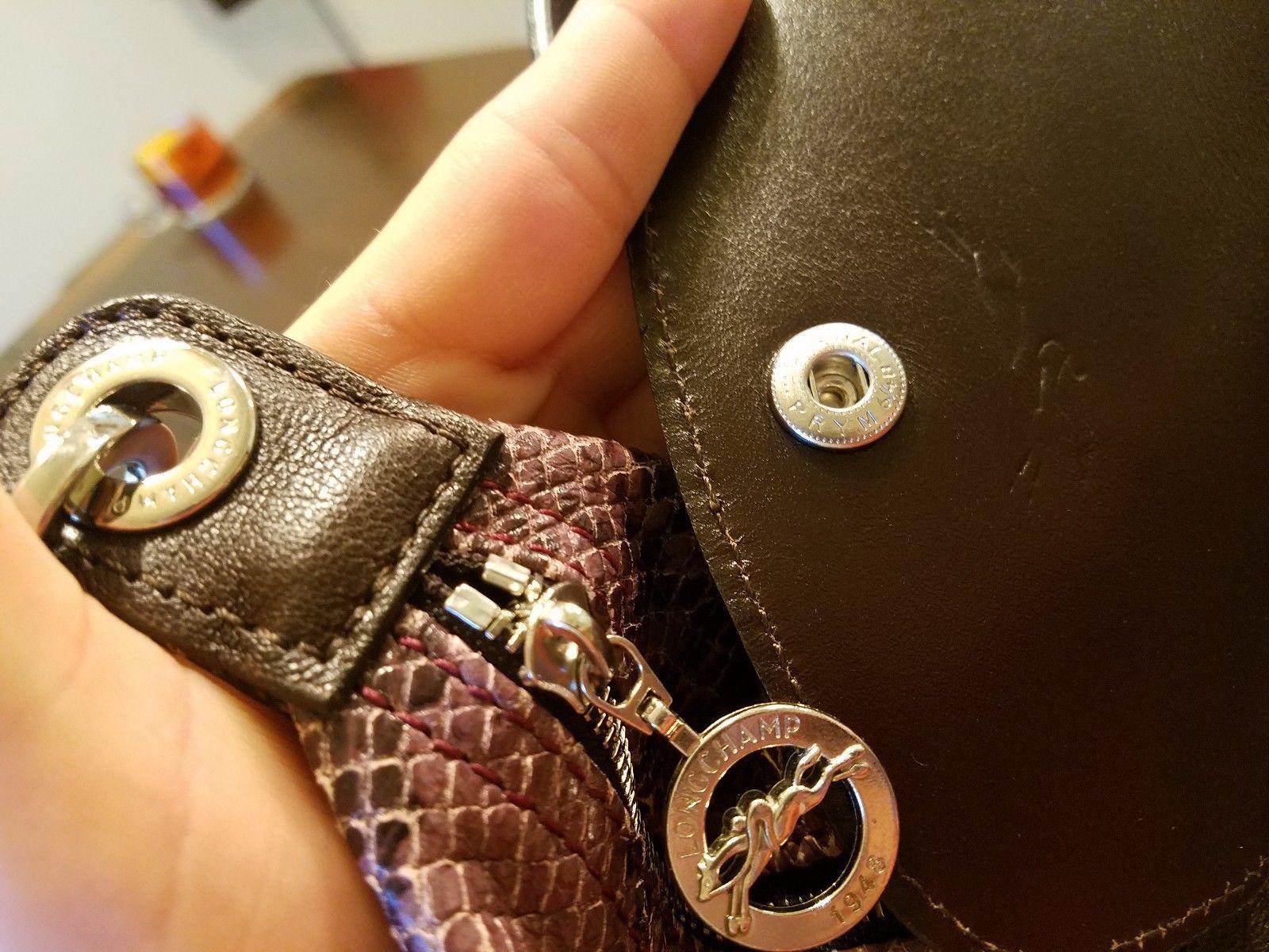 Longchamp Le Pliage Cuir Snake Purple Python Medium Handbag Brown Leather EUC