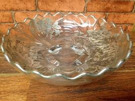 Vintage Footed Glass Serving Bowl w/ Silver Plate Floral Design - $12.95