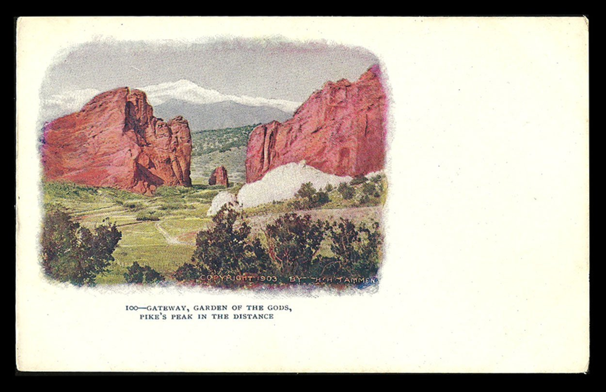 Gateway Postcard Colorado Garden of the Gods Pikes Peak in the Distance Embossed