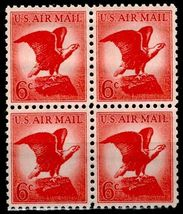 1963 6c Bald Eagle Block of 4 US Airmail Postage Stamps Catalog Number C67 MNH