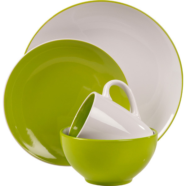 Milano green stoneware 16piece dinnerware set