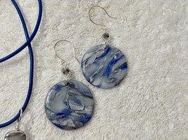 Set Blue Silver Handmade Polymer Clay Necklace 26 Inches Coin Shaped Ear... - $29.99