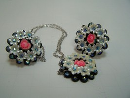 Vintage Earring Necklace set rose center white daisy blue rheinstones Pl... - €27,42 EUR