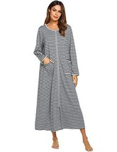 Ekouaer Women's Long Sleeve Zip Front O-Neck Long Robe Housecoat - $31.01