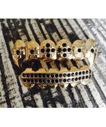 14K Gold GP Custom Fit Mouth Teeth Grillz Set Upper Lower Onyx Stones Fa... - $7.69