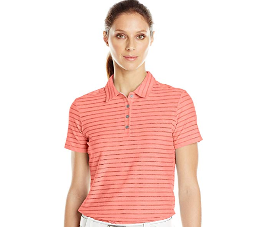 Primary image for Adidas Golf Climacool Womens Cottonhand Mesh-Striped Polo Shirt Sunset Coral