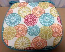 """Set of 4 KITCHEN CHAIR PADS CUSHIONS w/strings, COLORFUL CIRCLES, 15"""" x ... - $21.77"""
