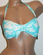 Michael Kors Size Small Turquoise White Floral Tie Front Bandeau Bikini ... - $16.79