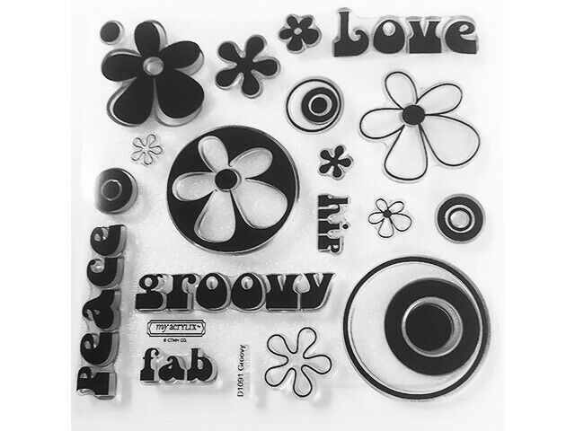 """Close to My Heart """"Groovy"""" Clear Cling Acrylic Stamp Set #D1091"""