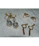 Estate Lot of 3 Faux Pink Pearl White Moonglow Bead & Dainty Open Heart ... - $12.19