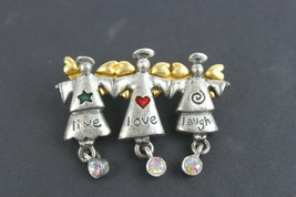 Vintage Pin Brooch Signed AJMC 3 Angels Live Love Laugh Pewter Christmas - $13.43