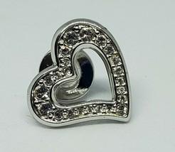 Swarovski Signed Silver Heart Crystal Lapel Pin Swan - $20.00