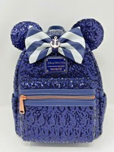 Disney Parks Minnie Mouse Disney Cruise Line Blue Sequined Loungefly Bac... - $108.89