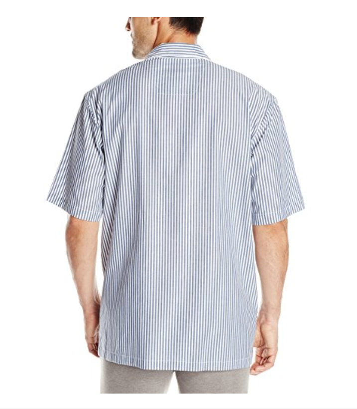$39 Nautica Men's Woven Stripe Camp Shirt, White, Size M.