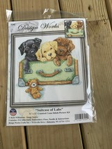 "Design Works Suitcase of Labs Puppy Teddy Bear Cross Stitch Kit 12""x12"" # 3242 * - $29.65"
