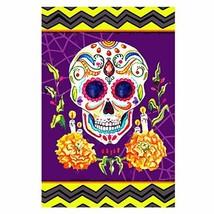Morigins Sugar Skulls Scary Double Sided Decorative Halloween Skull Gard... - $11.80