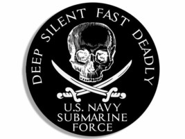 """NAVY SUBMARINE FORCE DEEP SILENT FAST DEADLY SKULL SWORD  4"""" DECAL STICKER - $13.53"""