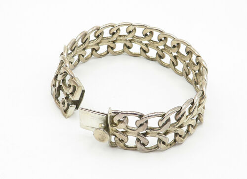 925 Sterling Silver - Vintage Open Swirl Linked Wide Chain Bracelet - B6234 image 4