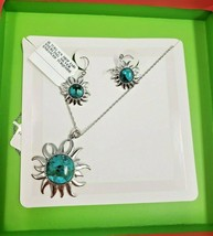 TURQUOISE SUN DROP EARRING & NECKLACE SET WOMENS STERLING SILVER 18 INCH - $160.00
