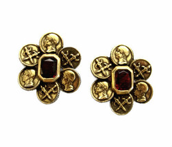 Vintage Coro Large Antiqued Gold Coins with Red Stones Earring Clips - $46.00