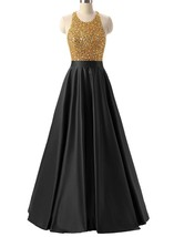 Long Halter Satin Prom Dresses with Golden Sparkly Bodice Evening Gowns 2018 - $135.00