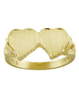 Double Hearts Ladies Ring 14K Yellow Gold - $197.01