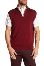 NEW $175 Peter Millar E4 Sz L Lovell Merino Wool Blend Vest 1/4 Zip Mock... - $49.47