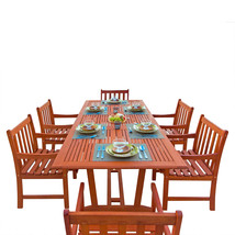 Malibu Eco-Friendly 7-Piece Wood Outdoor Dining Set with Rectangular Ext... - $1,081.69