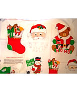 Vintage Christmas Appliques Themed Fabric Bear Santa  Stockings - $9.99