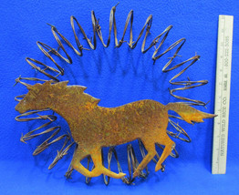 Vintage Handcrafted Metal Horse On Wreath Of Rolled Barbed Wire Rusty Wa... - $14.84