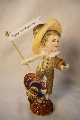Vintage Inspired Spun Cotton Thanksgiving Boy  & Turkey