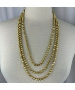 Vintage Georgiou Shiny Gold Tone Metal Bead Multi Strand Necklace Beaded... - $18.52