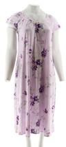 Carole Hochman Ultra Jersey Blooming Meadow Long Gown Purple L NEW A289098 - $28.69