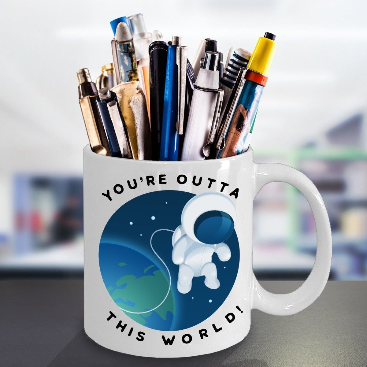 Your Out of This World Valentines Day Gift Astronaut Coffee Mug Ceramic White