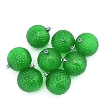 "Northlight 8ct Xmas Green Diamond Cut Shatterproof Christmas Ornaments 2.5"" - $5.68"