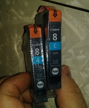 Lot of 2 Genuine Canon 8 CYAN CLI-8C Ink Cartridges - Factory Sealed NOS image 1