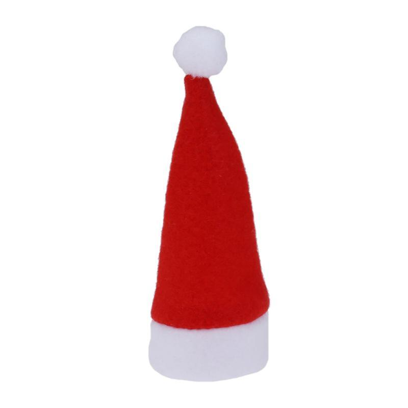 10pcs/lot Christmas Hat Theme Wine Bottle Cover Red Hat Knife Fork Hats Holder H