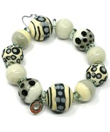 Bracelet Antica Murrina Venezia, BR717A14 White Black, Ball Polka dot, S... - $80.51