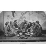 JAPAN Japanese Family at Dinner - 1882 Wood Engraving - $19.80