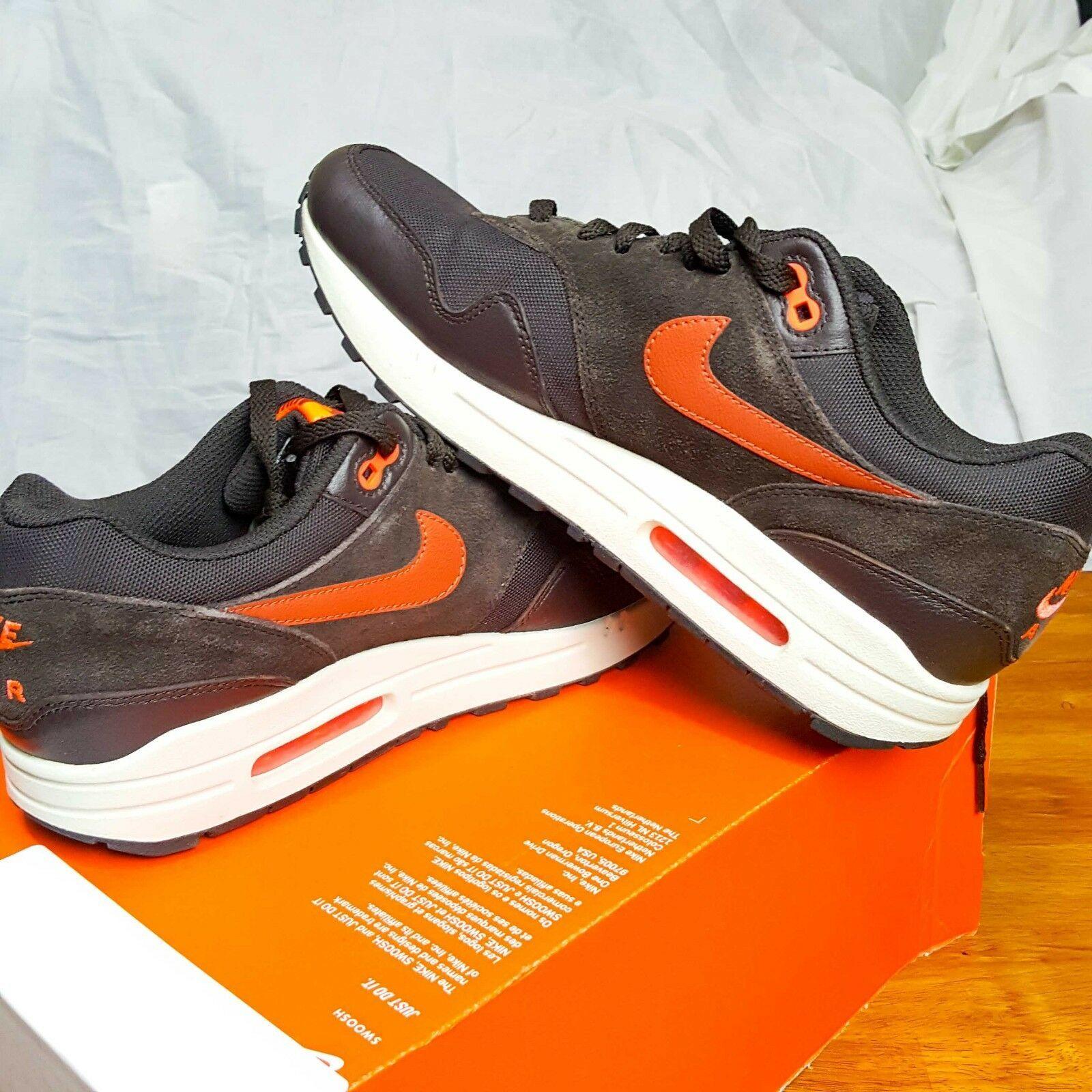 hot sale online 05dd1 4ac37 Nike Air Max 1 Premium Velluto Marrone Color Pesca Cremisi 875844-202  Taglia 9