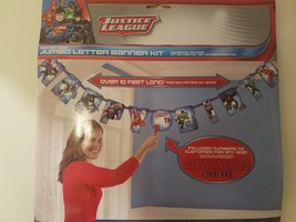 JUSTICE LEAGUE JUMBO LETTER BIRTHDAY BANNER KIT PARTY SUPPLIES DECORATIONS - $12.99