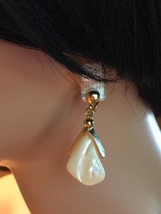 1960's Vintage Mother of Pearl & Gold Tone Clip On Dangle Earrings - $24.18