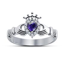 Brilliant Purple Amethyst Engagement Women's Jewelry Wedding Claddagh Ring 5 6 7 - $62.81