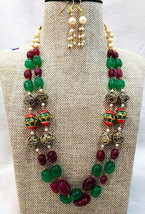 HANDMADE BEADED NECKLACE WITH MEENAKARI ROUND BEADS AND ANTIQUE GOLD BALLS - $19.99